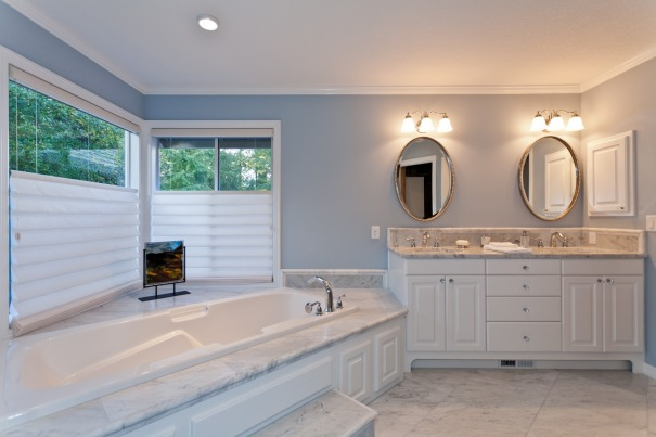 White Carrara Marble Master Bathroom